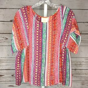 Anthropologie Maeve multi color blouse size Small